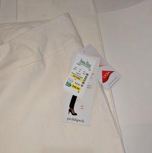 Peck & Peck Pants - NWT Peck & Peck Petite Ivory 14P  Slim Leg Lycra